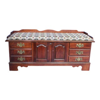 Vintage Mahogany English Style Trunk Bench For Sale
