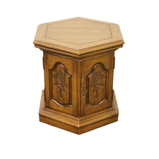 20th Century French Country Columbia Manufacturing Solid Oak Hexagonal Storage Cabinet End Table For Sale