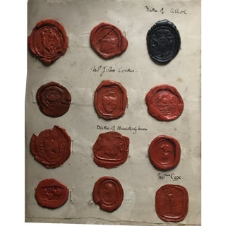 Antique Mid 20th Century English Red & Black Intaglio Was Seals For Sale