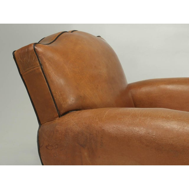French Fully Restored Club Chairs in Original Leather - a pair For Sale - Image 4 of 10