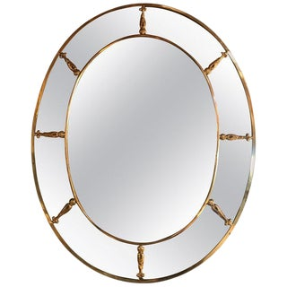 1930s Large Oval Art Deco Mirror With Brass Decorations For Sale