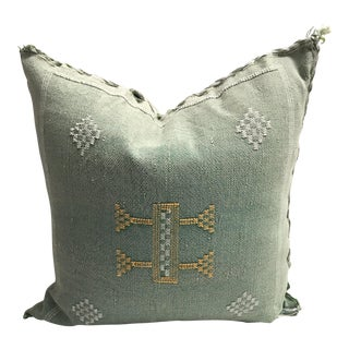 Green Sabra Cactus Silk Pillow