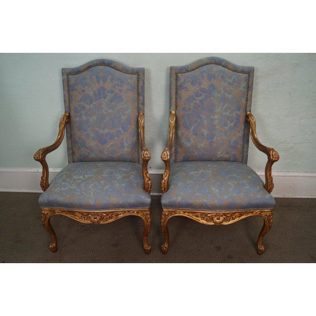 French Louis XV Style Carved Gilt Arm Chairs - A Pair - Image 2 of 10