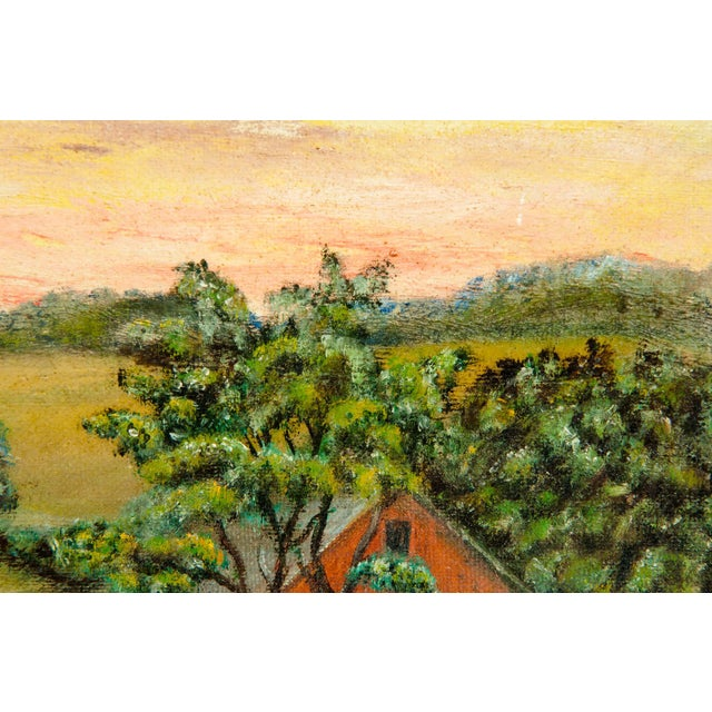 Mid 20th Century Mid-20th Century Wood Framed Oil / Board Painting For Sale - Image 5 of 10