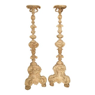 Pair of 60 Inch Tall 17th Century Light Walnut Wood Candlesticks From France For Sale