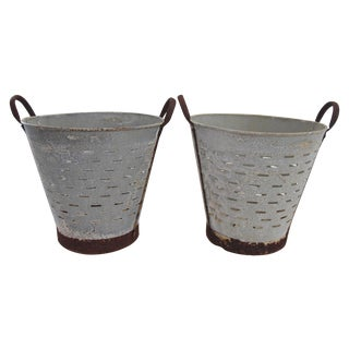 Turkish Rustic Olive Baskets - A Pair For Sale