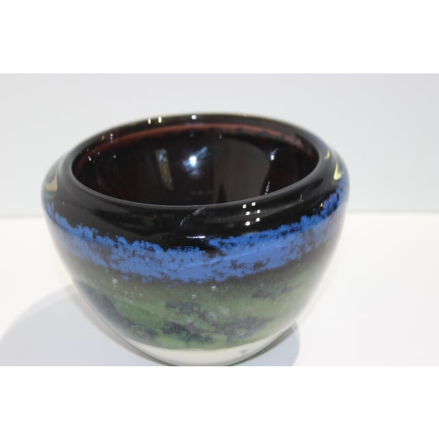 Vintage Murano Massimiliano Schiavon Thick Glass Artisan Bowl Signed Gaio 81 For Sale In West Palm - Image 6 of 13