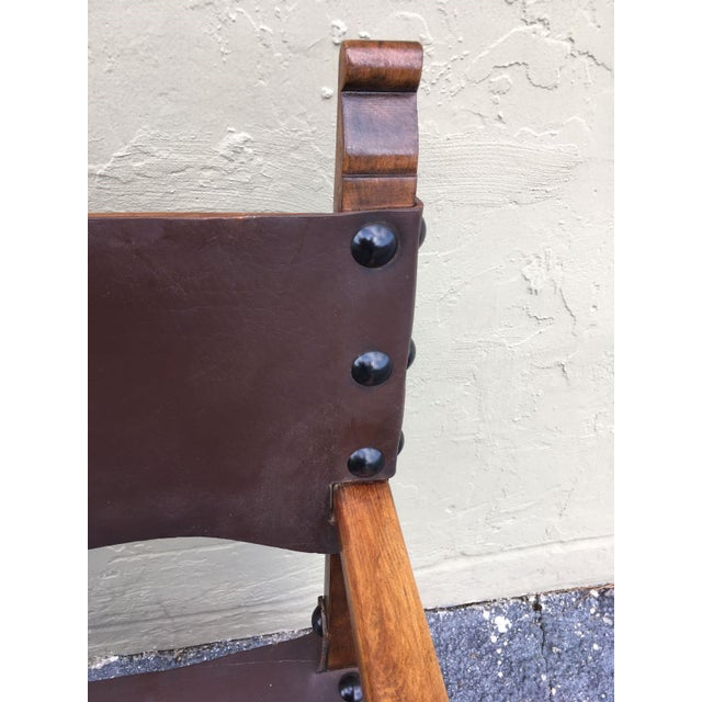 Catalan, Colonial Spanish Carved Armchair With Leather, 19th Century For Sale In Miami - Image 6 of 9