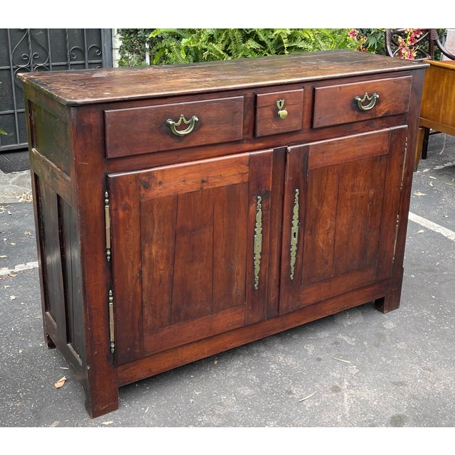 French Country Antiqie 18th C Italian Country Walnut Sideboard Buffet For Sale - Image 3 of 9