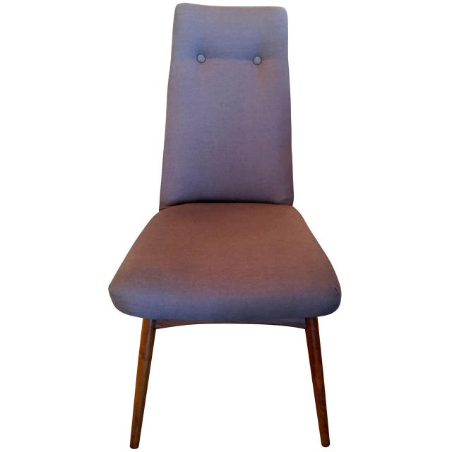 Mid Century Modern Adrian Pearsall Set of Six Dining Chairs in Gray Linen - Image 2 of 7