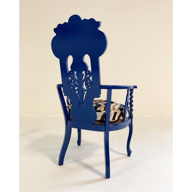 Renaissance Revival Renaissance Revival Armchair With Zebra Hide Cushion For Sale - Image 3 of 7