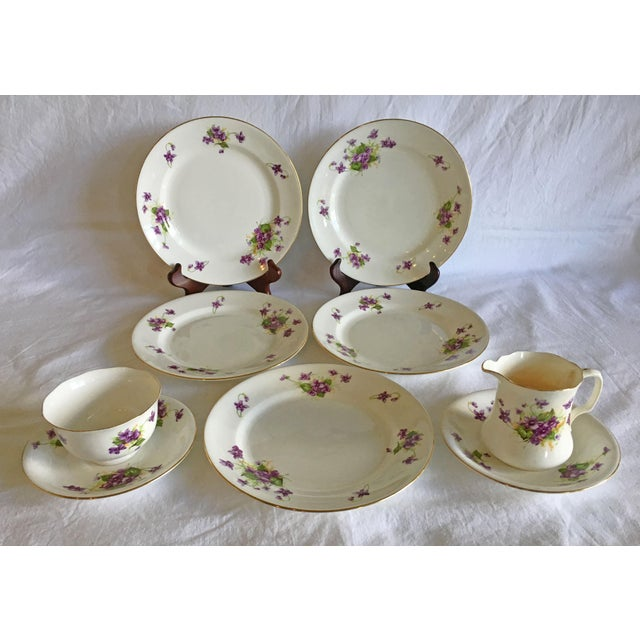 1950s Violet Floral Bone China Luncheon Plates - Set of 9 For Sale - Image 13 of 13
