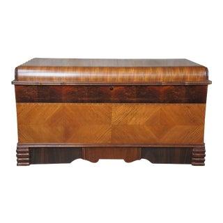 Antique 1930s Art Deco Waterfall Walnut Burl Cedar Lined Trunk With Hidden Drawer For Sale