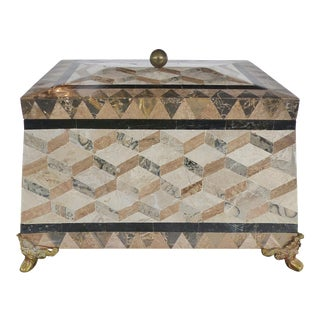 Large Tessellated Stone, Marble and Brass Lidded Box From Maitland-Smith For Sale