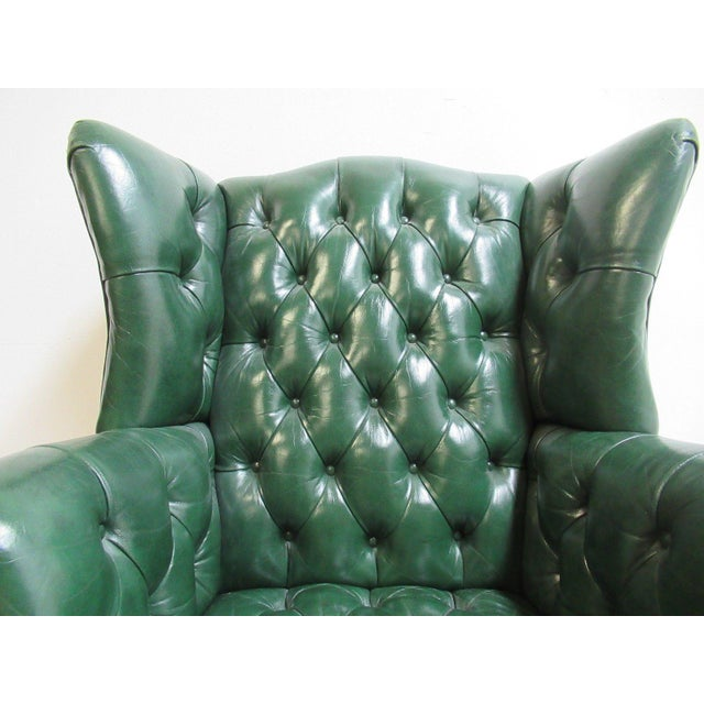 Vintage Chesterfield Style Tufted Ball & Claw Chippendale Wingback Chair - Image 5 of 11