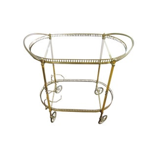 Italian 2 Tier Brass Bar Cart For Sale
