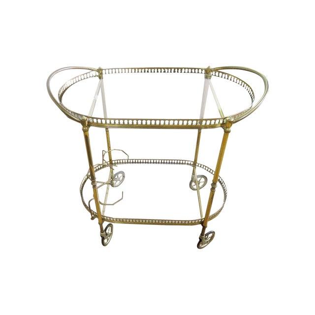 Italian 2 Tier Brass Bar Cart For Sale