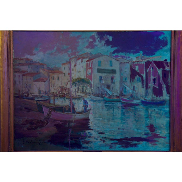 French Impressionism Antique Oil Painting of Fishing Harbor by Paul Balmigere For Sale - Image 12 of 13