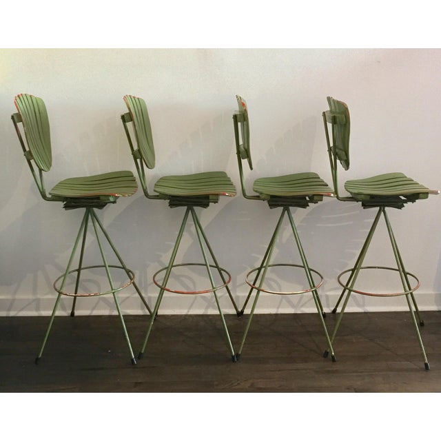 Vintage Molded Mood Slat Barstools - Set of 4 - Image 2 of 5