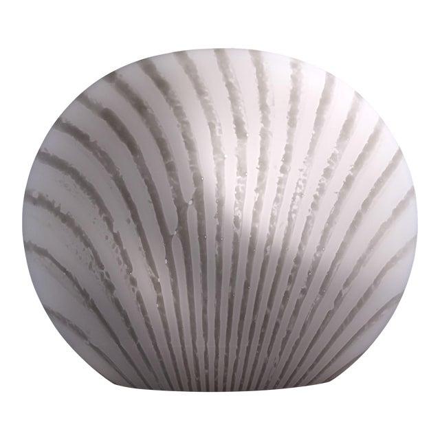 1960's Italian Murano Vetri White and Gray Swirl Shell Table Lamp For Sale