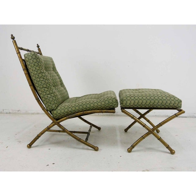 Italian-Style Faux Bamboo Lounge Chair & Ottoman - Image 2 of 9