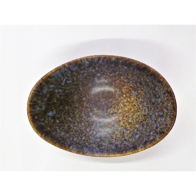 Ceramic Vintage Mid Century Gunnard Nylund Stoneware Pottery Boat Shaped Vessel For Sale - Image 7 of 10