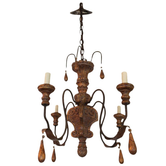 Carved Giltwood and Iron Chandelier For Sale