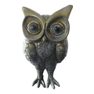 Large Bustamante Segmented Brass Owl Unsigned For Sale