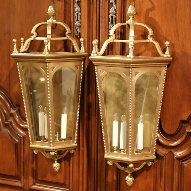 French Early 20th Century French Bronze Wall Outside Sconces with Glass - A Pair For Sale - Image 3 of 10