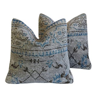 Custom Tailored Turkish Overdyed Gray/Blue Feather/Down Pillows - Pair