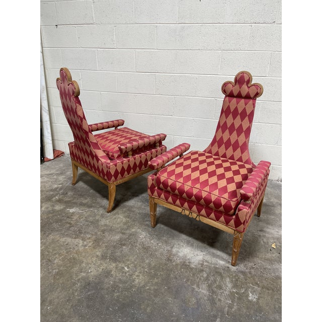 Whimsical Avant Garde Tall Back Chairs- a Pair For Sale - Image 10 of 12