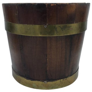 19th Century English Pine and Brass Banded Collar Bucket Cachepot For Sale
