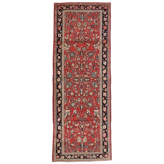 Vintage Persian Sarouk Traditional Style Hallway Runner Rug - ′9″ × 10′3″ For Sale