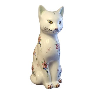 Porcelain Seated Cat For Sale