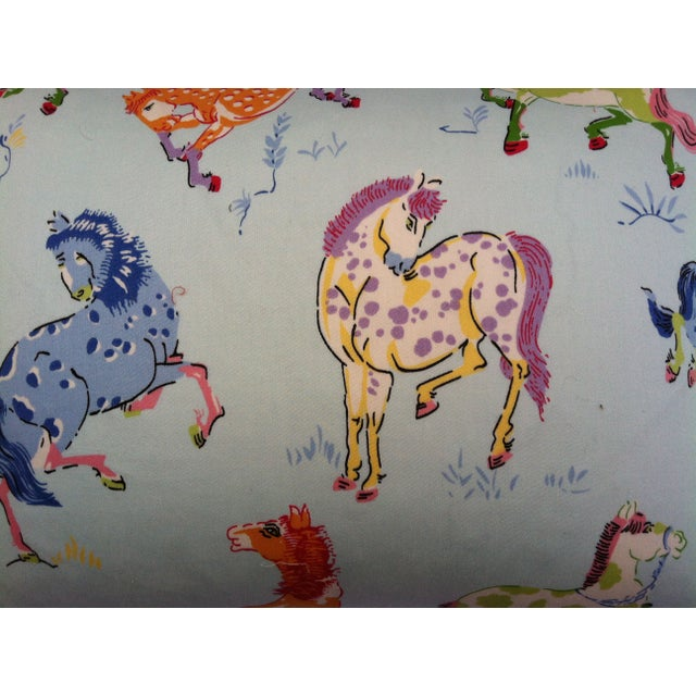 Contemporary Throw Pillows in Colorful Horse Fabric - A Pair For Sale - Image 3 of 3