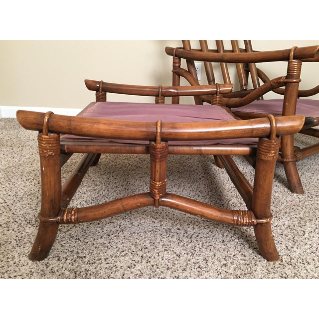 Mid Century Modern Rattan Lounge Chair & Ottoman For Sale - Image 12 of 13