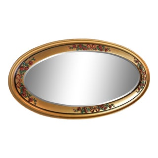 Giltwood and Barbola Oval Mirror For Sale
