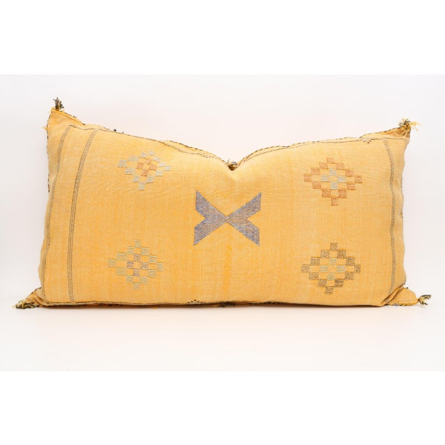 Very rare Double sided Moroccan Sabra Cactus Silk Lumbar Pillow Cover. A handwoven, one-of-a-kind, Moroccan pillow made...