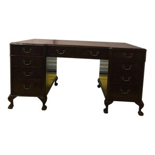 Traditional Antique George III Leather Topped Desk For Sale