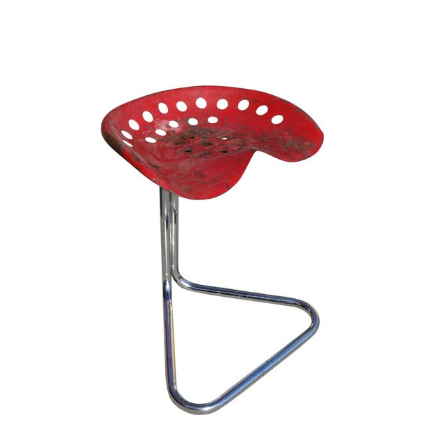"Industrial Rare Red Rodney Kinsman ""T7 Tractor"" Outdoor/Patio Stool for Omk For Sale - Image 3 of 6"