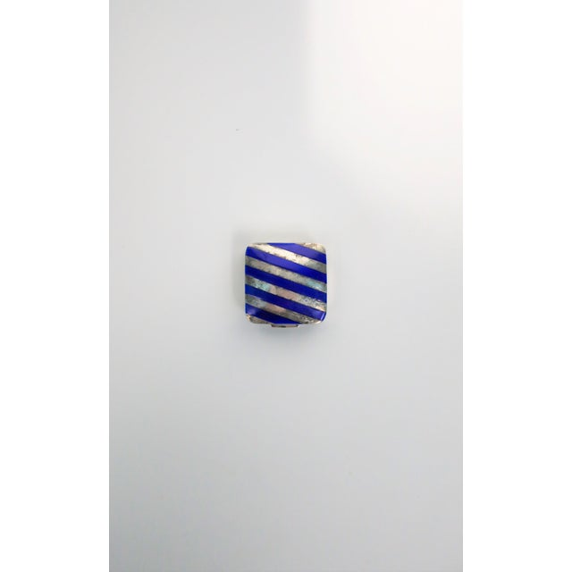 From French luxury maker Cartier, a very beautiful and rare sterling silver and cobalt blue enamel pill box, circa 20th...