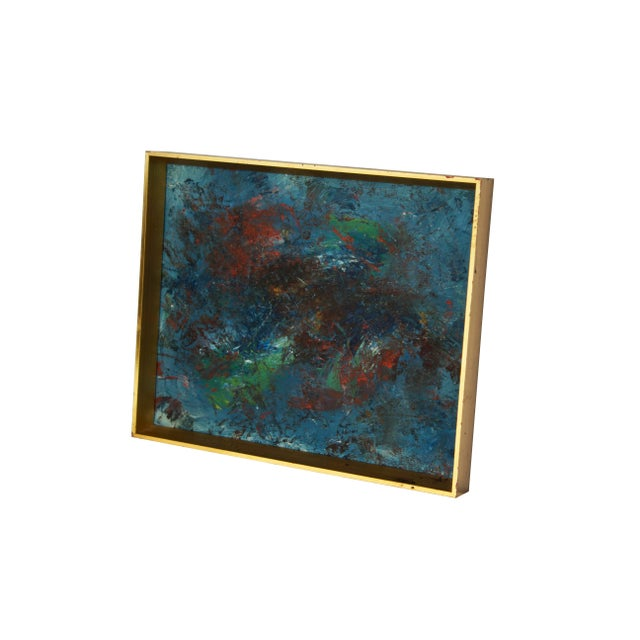 Blue and Red Abstract Painting in a Gold Frame. Saturated tones. Acrylic on canvas board. CONDITION NOTES: Excellent...