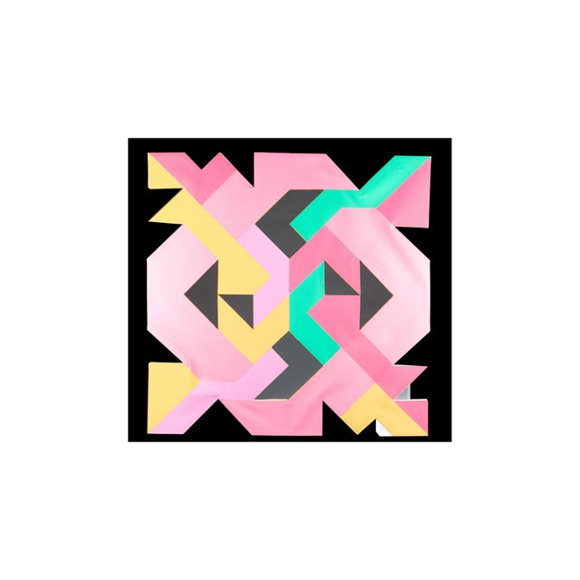 Canvas Geometric Hard Edge Painting by Sidney Guberman For Sale - Image 7 of 8