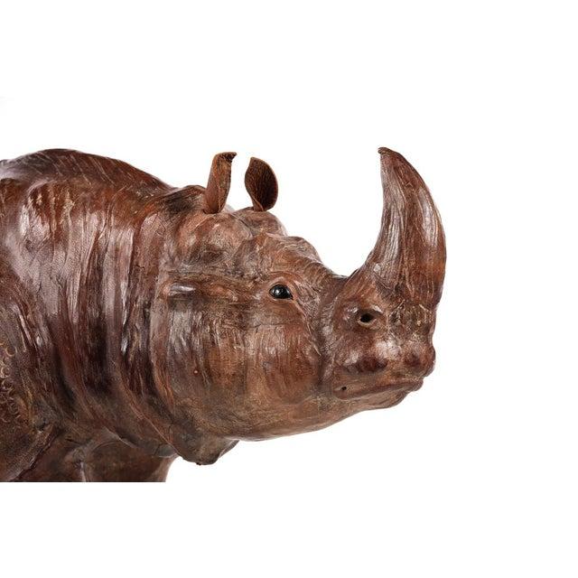 Mid-Century Modern Vintage Leather Rhinoceros Sculpture For Sale - Image 3 of 9