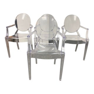 Phillipe Starck Style Ghost Arm Chairs - Set of Four For Sale