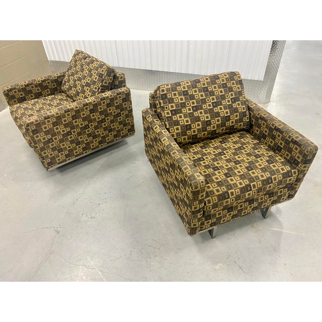 Modern Younger furniture Inc. Lounge Chairs. Two large and strong well built chairs!! Both feature solid chrome platform...