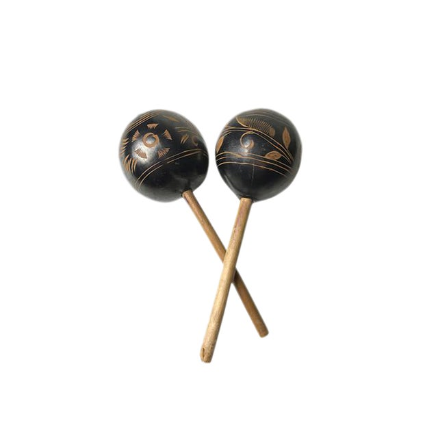 Vintage Peruvian Natural Gourd Maracas - A Pair - Image 1 of 2