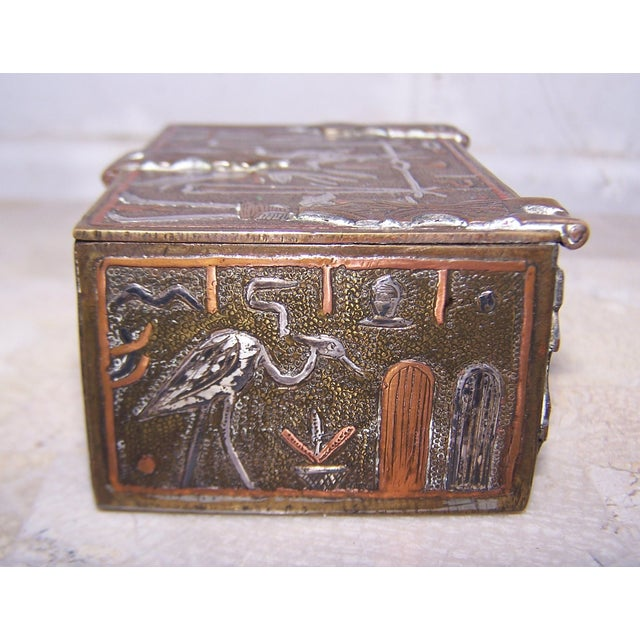Vintage Mixed Metal Egyptian Motif Cigarette Box For Sale - Image 7 of 9