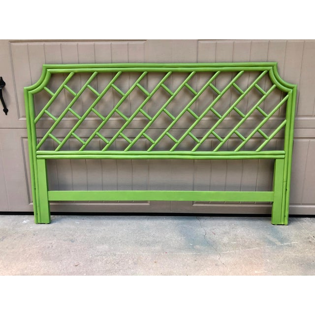 Green Henry Link King Size Rattan Headboard For Sale - Image 8 of 8