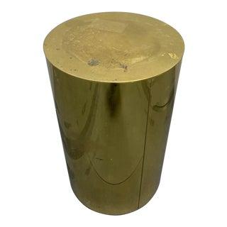 Mid-Century Brass Drum Pedestal For Sale